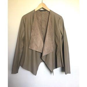 Zara Vegan Leather Jacket Blazer Olive Green